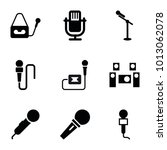 mic icons. set of 9 editable... | Shutterstock .eps vector #1013062078