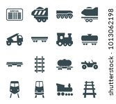 train icons. set of 16 editable ... | Shutterstock .eps vector #1013062198