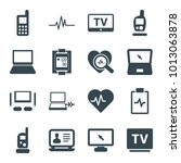 monitor icons. set of 16... | Shutterstock .eps vector #1013063878