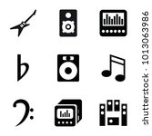 bass icons. set of 9 editable... | Shutterstock .eps vector #1013063986