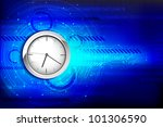 illustration of clock on hi tech background with numbers - stock vector