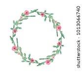 watercolor cactus cacti wreath... | Shutterstock . vector #1013066740