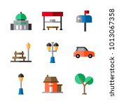 icons set urban. vector bus... | Shutterstock .eps vector #1013067358