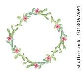 watercolor cactus cacti wreath... | Shutterstock . vector #1013067694