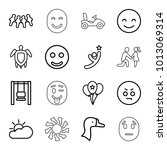 happy icons. set of 16 editable ... | Shutterstock .eps vector #1013069314