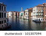 Famous Grand Canal in Venice, Italy. View from the Rialto bridge. - stock photo