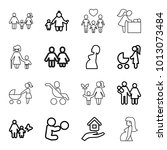 mother icons. set of 16... | Shutterstock .eps vector #1013073484