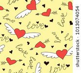 hand drawn doodle love seamless ... | Shutterstock .eps vector #1013074054