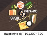 preparing sushi ingredients and ... | Shutterstock .eps vector #1013074720