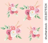 watercolor flowers seamless... | Shutterstock . vector #1013075524
