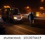 dangerous situation on zebra... | Shutterstock . vector #1013076619