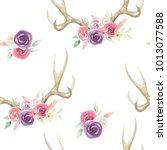 watercolor antler deer flower... | Shutterstock . vector #1013077588