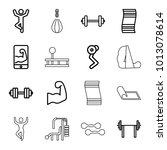 gym icons. set of 16 editable... | Shutterstock .eps vector #1013078614