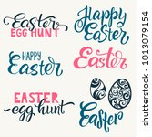 set of hand written happy... | Shutterstock .eps vector #1013079154