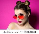 young beautiful playful woman...   Shutterstock . vector #1013084023