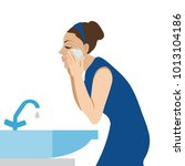 woman washing her face   vector ... | Shutterstock .eps vector #1013104186