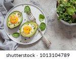 healthy breakfast. avocado... | Shutterstock . vector #1013104789