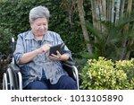 elder woman in wheelchair... | Shutterstock . vector #1013105890