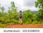 hiking woman on hawaii  waihee... | Shutterstock . vector #1013108053