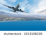 airplane taking off   travel by ... | Shutterstock . vector #1013108230
