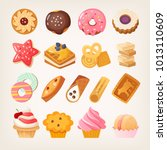 set of colorful sweet desserts  ... | Shutterstock .eps vector #1013110609