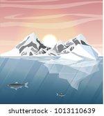 northern underwater landscape.... | Shutterstock .eps vector #1013110639