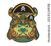 face of pirate ornamental hippo ... | Shutterstock .eps vector #1013114938