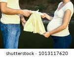 happy man with woman pregnant... | Shutterstock . vector #1013117620