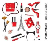 beautiful female items of red... | Shutterstock .eps vector #1013119300