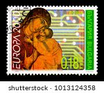 Small photo of MOSCOW, RUSSIA - DECEMBER 21, 2017: A stamp printed in Bulgaria shows Madonna and Child with Circuit Board, Europa (C.E.P.T.) 2000 serie, circa 2000