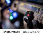 arcade game joy stick in soft... | Shutterstock . vector #1013124370