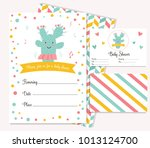 baby shower poster with cute... | Shutterstock .eps vector #1013124700