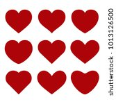 set of red hearts on white... | Shutterstock . vector #1013126500