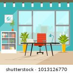 office workplace with table ... | Shutterstock .eps vector #1013126770
