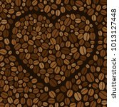 heart made of colored coffee... | Shutterstock . vector #1013127448