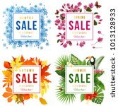 4 sale banners with seasons...   Shutterstock .eps vector #1013128933