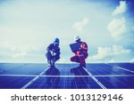 engineer checking heat of solar ... | Shutterstock . vector #1013129146