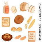 set of different kinds of bread ... | Shutterstock .eps vector #1013130940