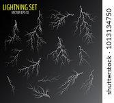 set of different white cracks... | Shutterstock .eps vector #1013134750