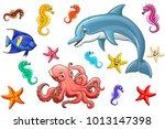 big set cute marine animals... | Shutterstock .eps vector #1013147398