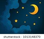 Paper Art Half Moon  Rays ...