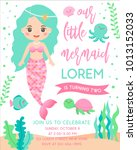 cute mermaid and marine life... | Shutterstock .eps vector #1013152033