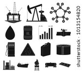 oil industry black icons in set ... | Shutterstock . vector #1013154820