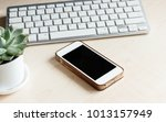 white wooden table with... | Shutterstock . vector #1013157949
