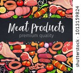 gastronomic meat products with... | Shutterstock .eps vector #1013159824