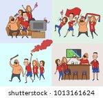 a group of friends  football... | Shutterstock .eps vector #1013161624