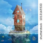 fantasy house in a sea scenery...   Shutterstock . vector #1013165533