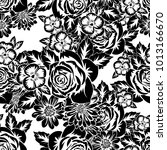 seamless monochrome pattern of... | Shutterstock .eps vector #1013166670