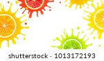 banner with citrus fruits and... | Shutterstock .eps vector #1013172193