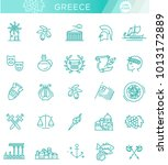 greece line icon set.vector | Shutterstock .eps vector #1013172889